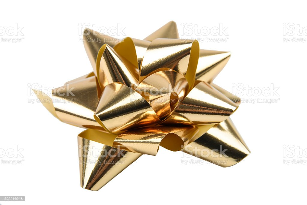 Golden Gift Bow stock photo