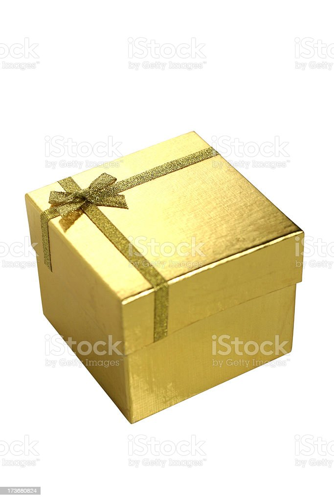 Golden Gift Box and Ribbon Bow royalty-free stock photo