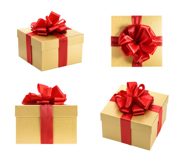 Golden gift box collection isolated on a white background stock photo