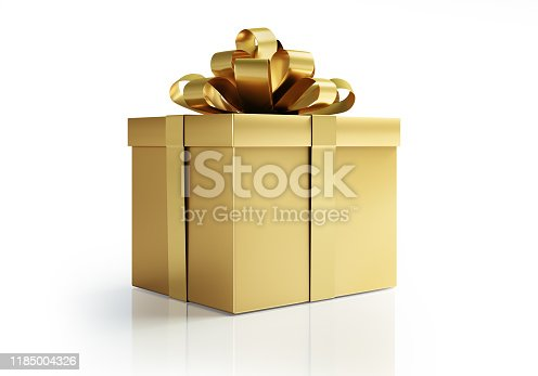 Golden Gift Box on white shiny background