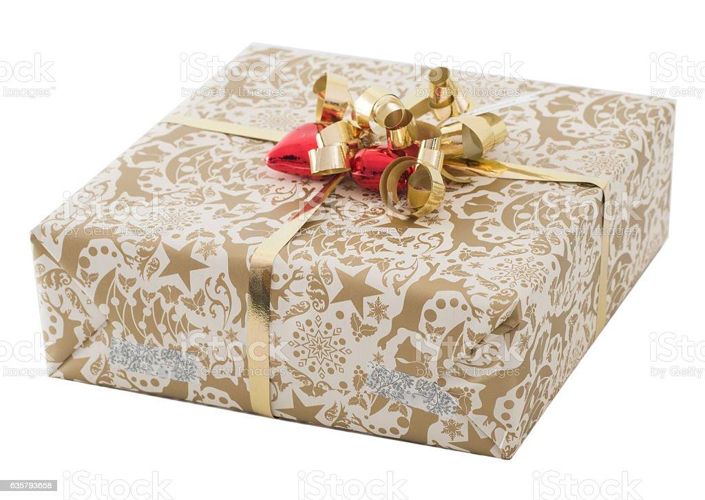 golden gift on white background stock photo