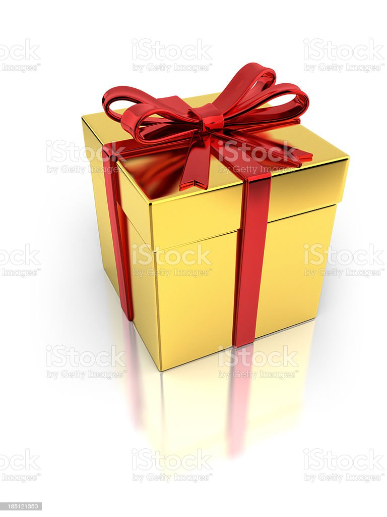 Golden Giftbox with Red Ribbon stock photo