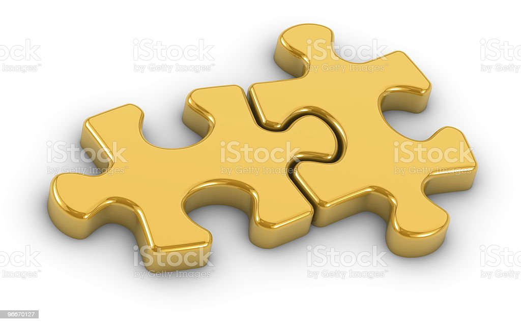 Golden Gijsaw Puzzle Pieces royalty-free stock photo