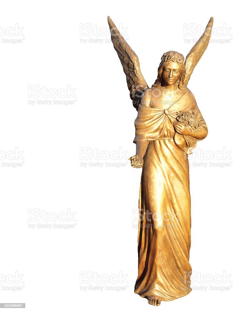 Golden gilt metal statuette of an angel stock photo