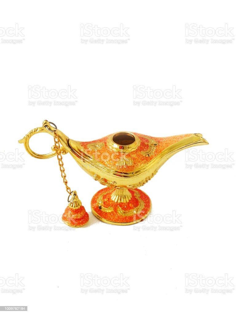 Golden Ginie Lamp with orange highlights стоковое фото