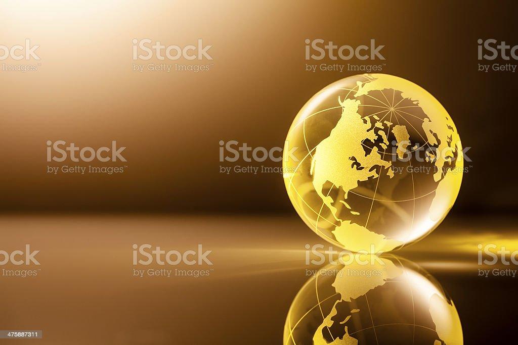 Golden Glass World Globe - Earth Backgrounds Global stock photo