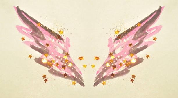golden glitter und glitzernden sternen auf abstrakte rosa-schwarzen aquarell flügeln in vintage nostalgische farben. - rosa glitzer nägel stock-fotos und bilder