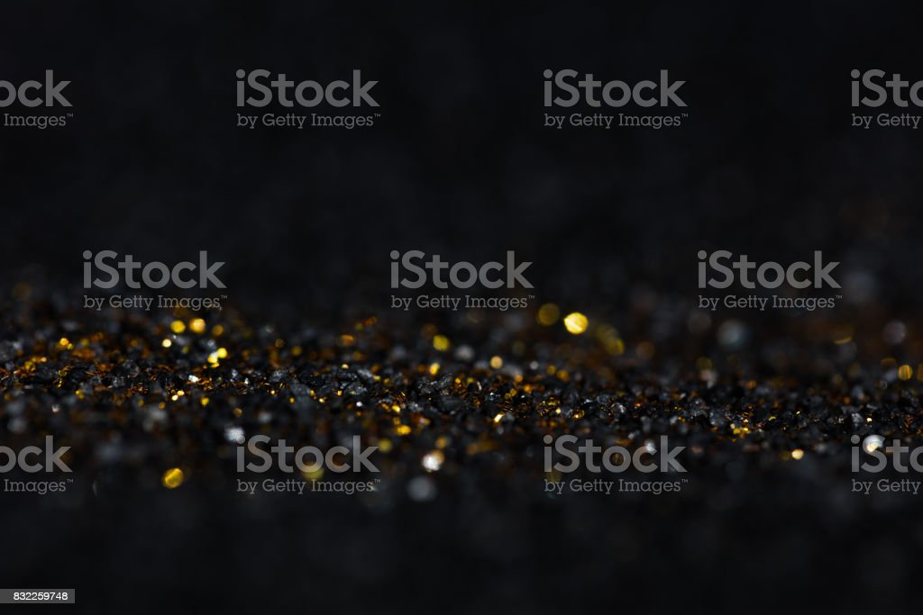 Golden Glitter in Black stock photo