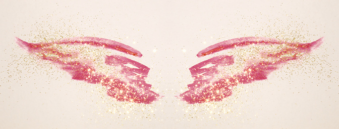 Golden glitter on abstract pink watercolor wings in vintage nostalgic colors