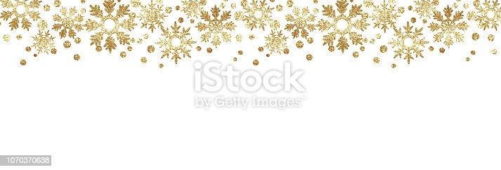 istock Golden glitter snowflake borders 1070370638