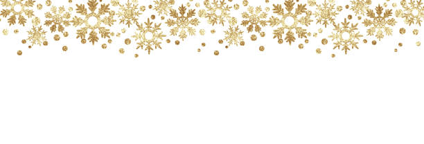 golden glitter snowflake borders - snowflake background stock pictures, royalty-free photos & images