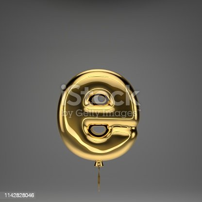 133379665 istock photo Golden glossy balloon lowercase letter E isolated on dark background 1142828046