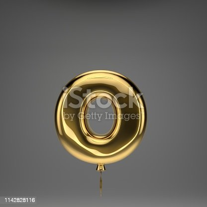 133379665 istock photo Golden glossy balloon lowercase letter O isolated on dark background 1142828116