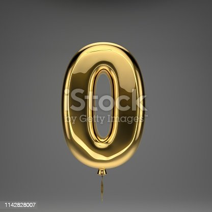 133379665 istock photo Golden glossy balloon number 0 isolated on dark background 1142828007