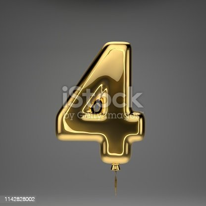 133379665 istock photo Golden glossy balloon number 4 isolated on dark background 1142828002