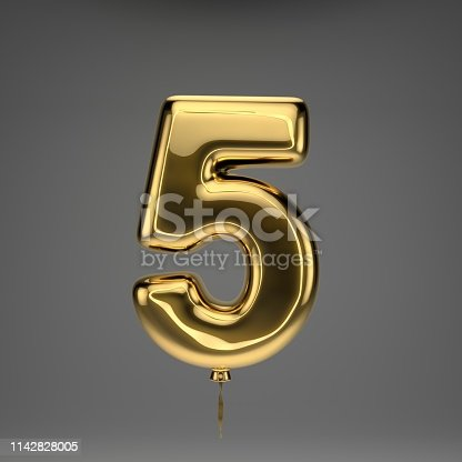 133379665 istock photo Golden glossy balloon number 5 isolated on dark background 1142828005