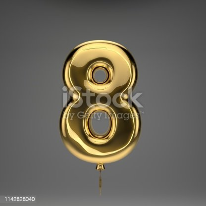 133379665 istock photo Golden glossy balloon number 8 isolated on dark background 1142828040