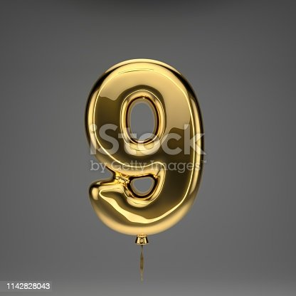 133379665 istock photo Golden glossy balloon number 9 isolated on dark background 1142828043