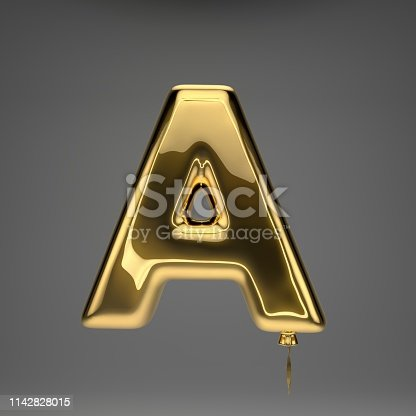 133379665 istock photo Golden glossy balloon uppercase letter A isolated on dark background 1142828015