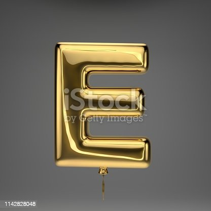 133379665 istock photo Golden glossy balloon uppercase letter E isolated on dark background 1142828048