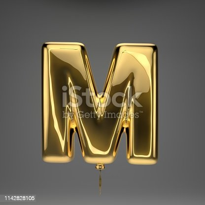 133379665 istock photo Golden glossy balloon uppercase letter M isolated on dark background 1142828105