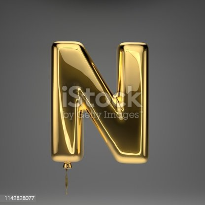 133379665 istock photo Golden glossy balloon uppercase letter N isolated on dark background 1142828077
