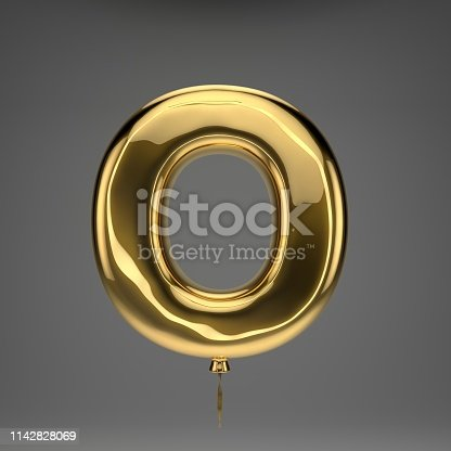 133379665 istock photo Golden glossy balloon uppercase letter O isolated on dark background 1142828069