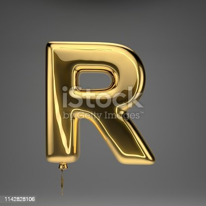 133379665 istock photo Golden glossy balloon uppercase letter R isolated on dark background 1142828106