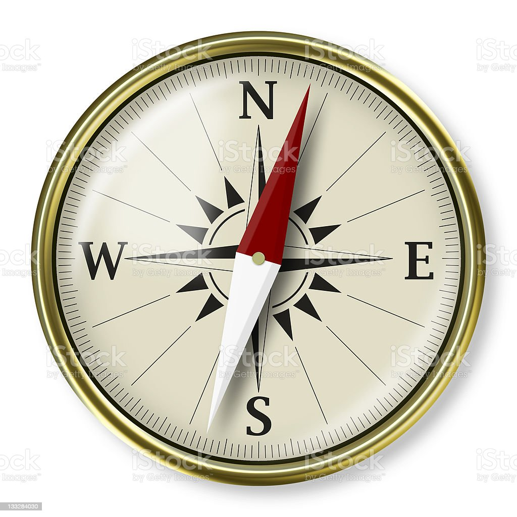 Golden glossy compass stock photo