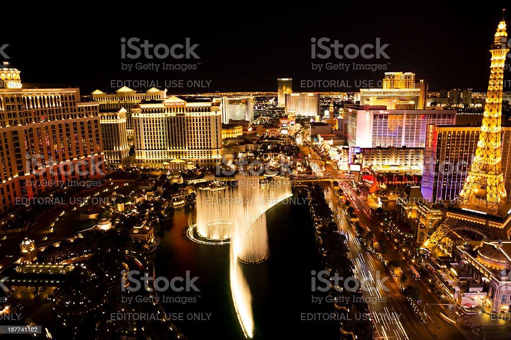 Golden glow of Las Vegas Strip at night stock photo