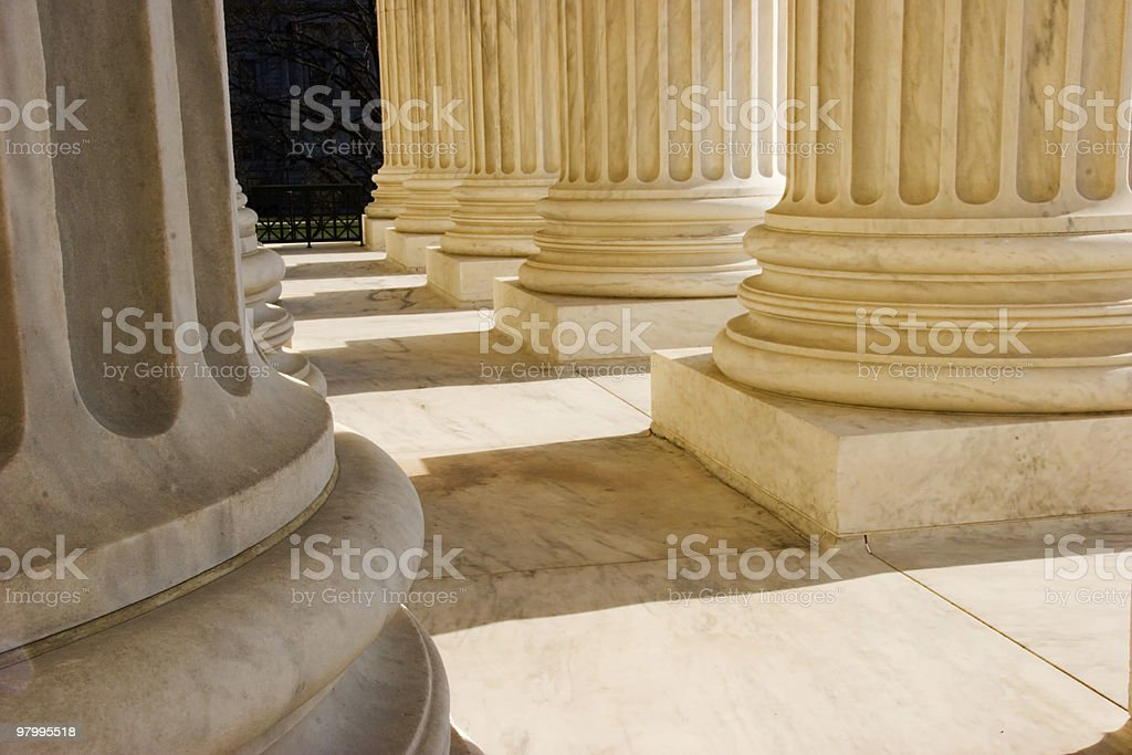 Golden Glow on Supreme Court Colums royalty-free stock photo