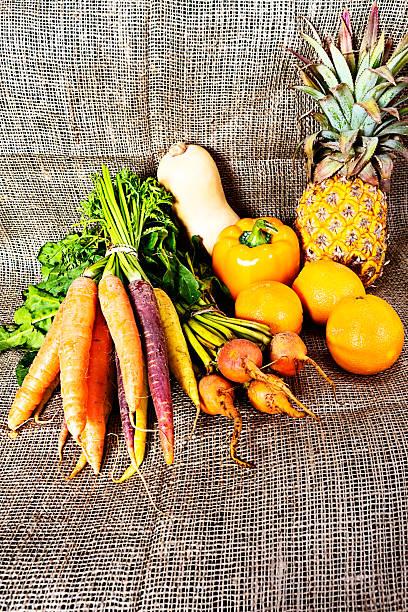 Golden goodness: Beta-carotene rich vegetables and fruit stock photo