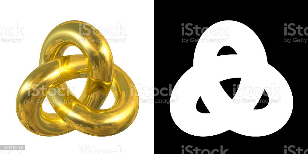 Golden Gordian Knot Sign, Reflection of Sky - gold/metal symbol stock photo