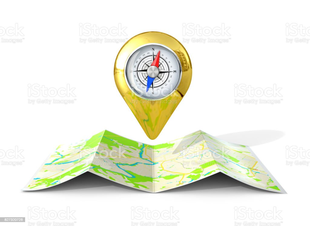 Golden GPS-pointer located on the map. 3D illustration stock photo