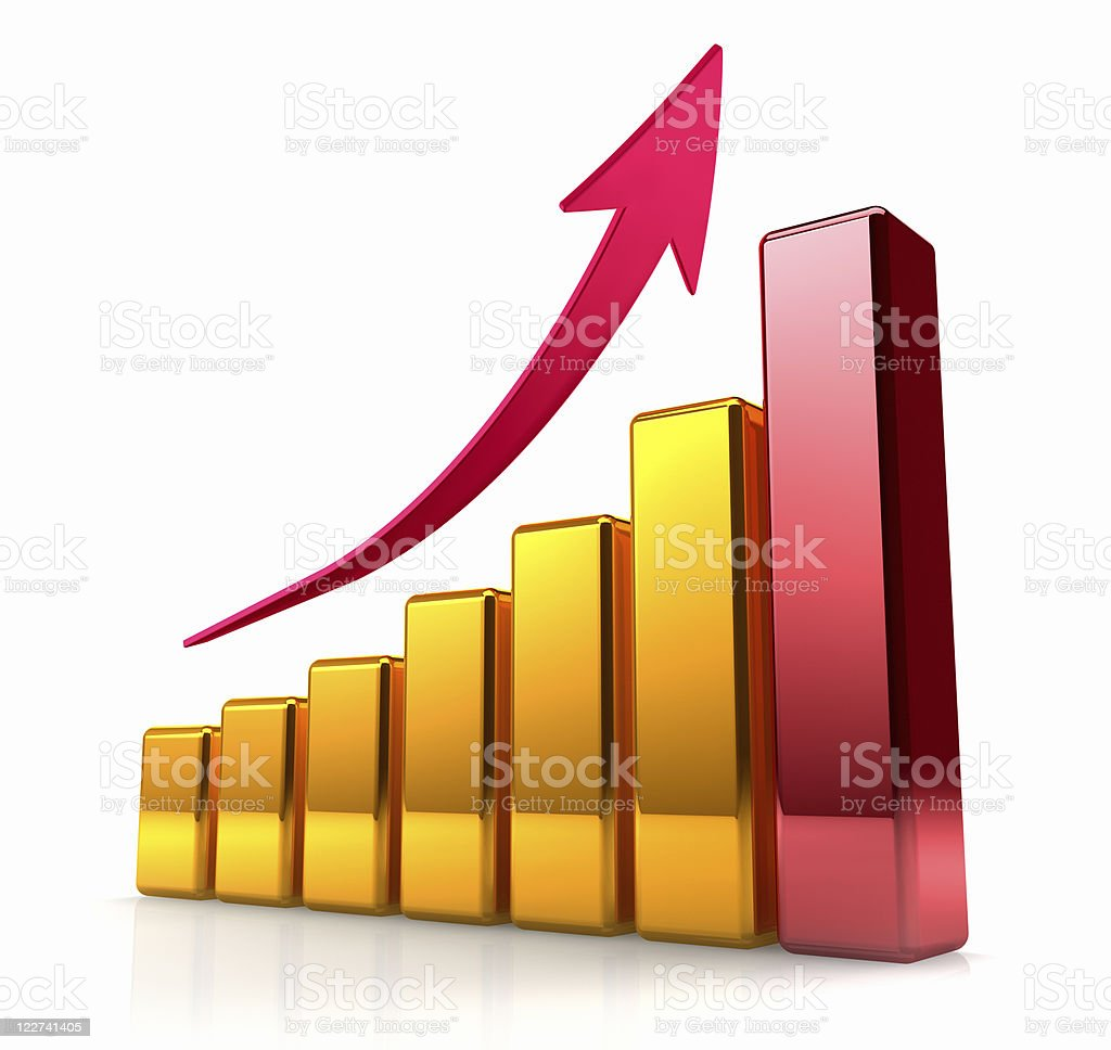 Golden Graph With Arrow stock photo