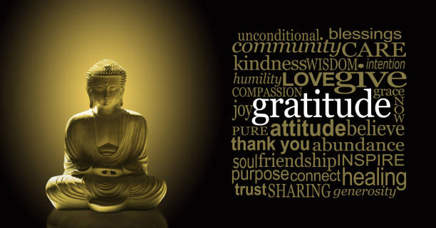Golden Gratitude Meditating Buddha Banner Buddha in lotus position with a golden glow beside a neat square GRATITUDE word cloud against a black background detach stock pictures, royalty-free photos & images