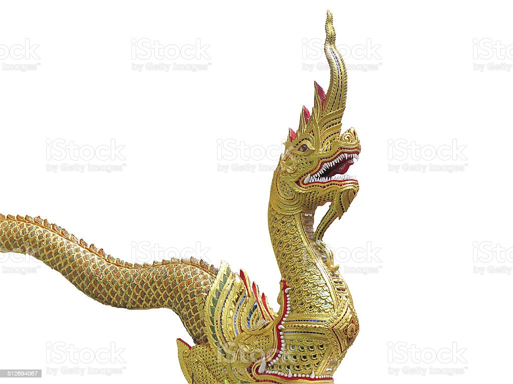 Golden Great Naga statue stock photo