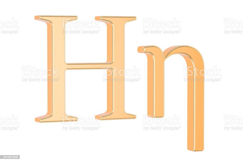 Golden Greek Letter Eta 3d Rendering Isolated White Background