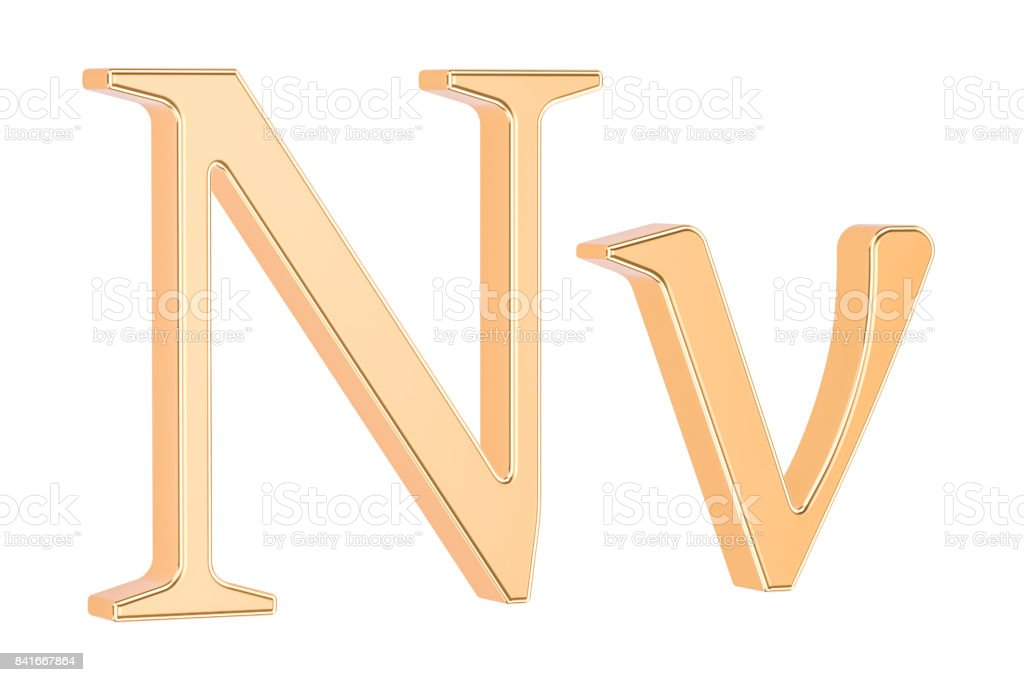Golden Greek Letter Nu 3d Rendering Isolated White Background