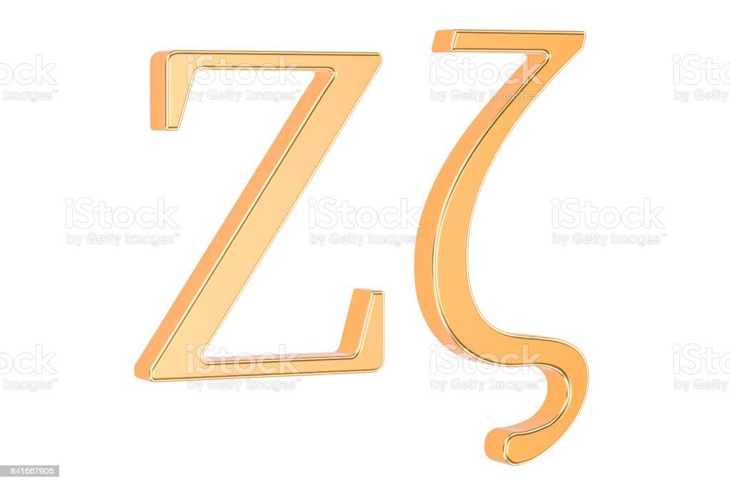 Golden Greek letter Zeta, 3D rendering isolated on white background stock photo