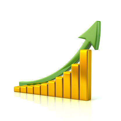 istock Golden growing graph icon 814311086