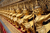 Golden Guardian Statues in King Palace in Bangkok-Thailand