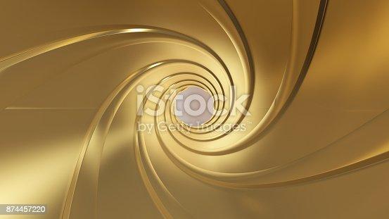 1096211026 istock photo Golden gun barrel,high resolution 3d rendering 874457220