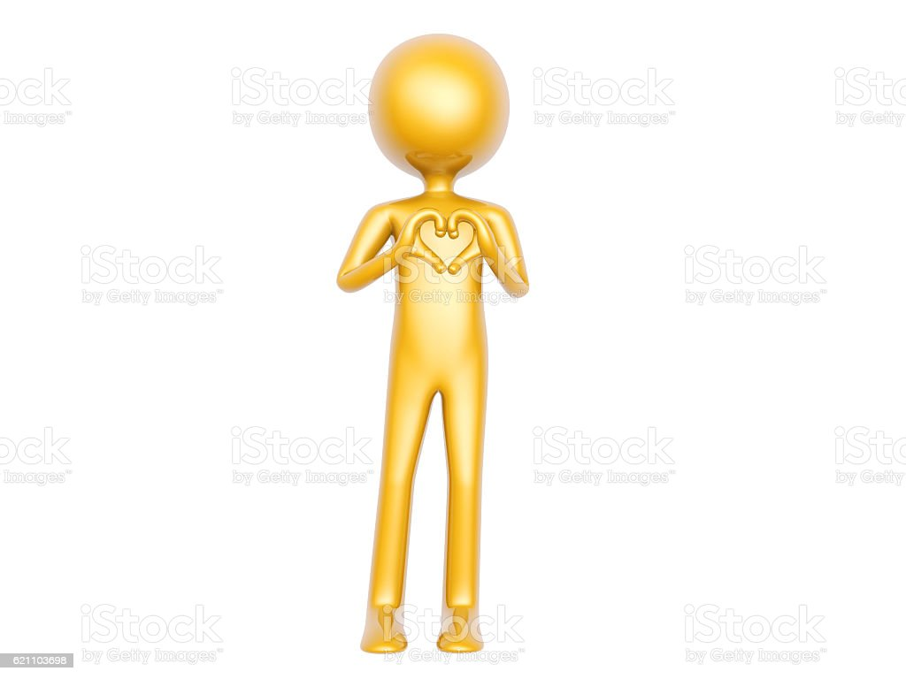Golden Guy Make Heart Love Symbol With Hands Isolated On Stock Photo