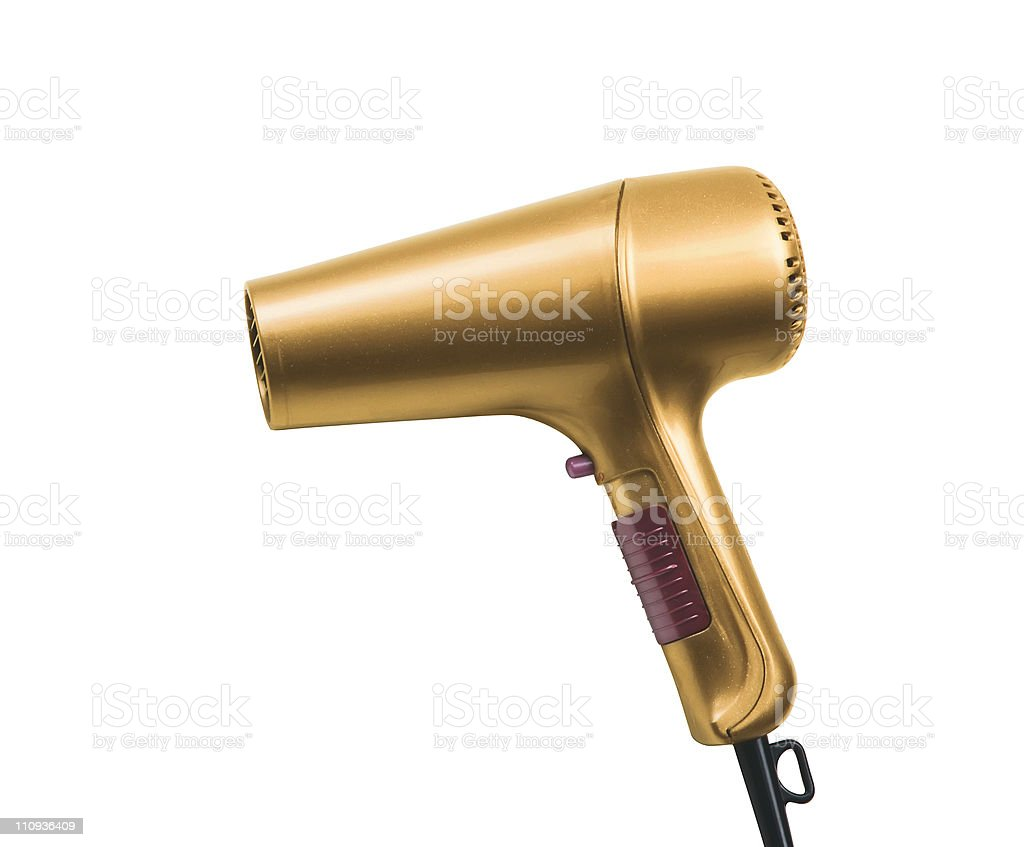 golden hair dryer isolated on white background stock photo