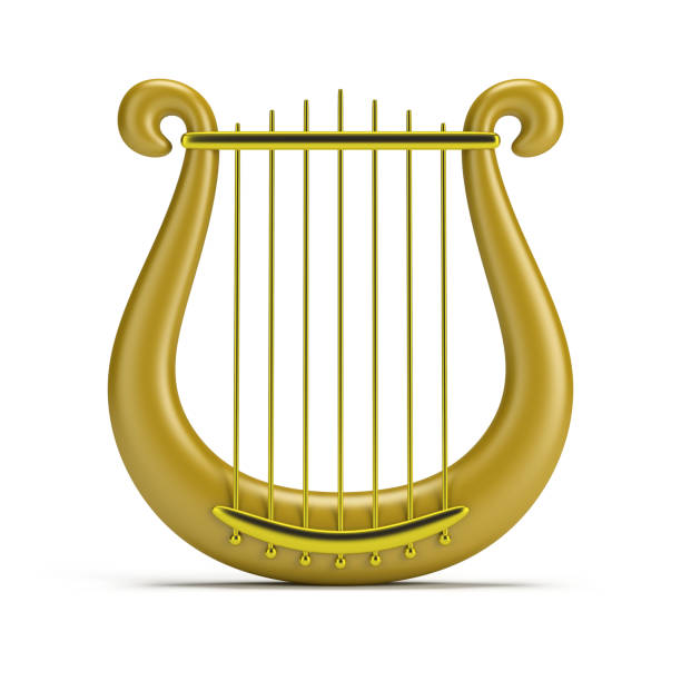 golden harp - harpist stock photos and pictures