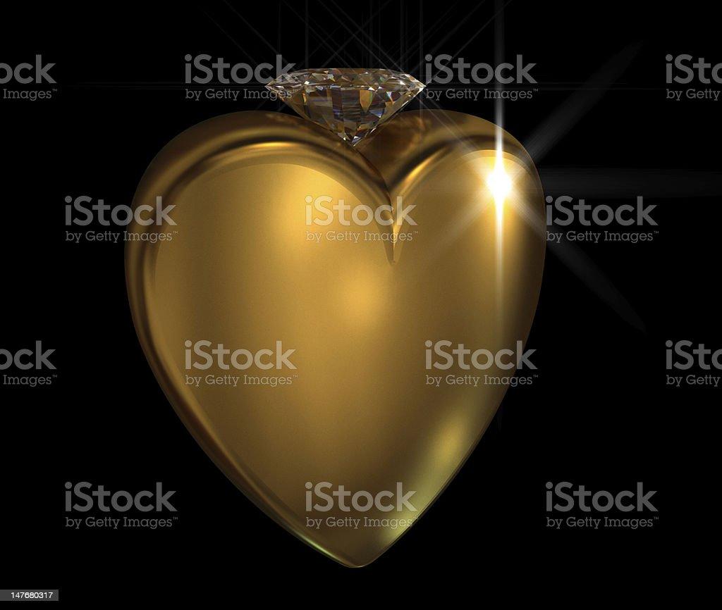 Golden Heart with Diamond royalty-free stock photo