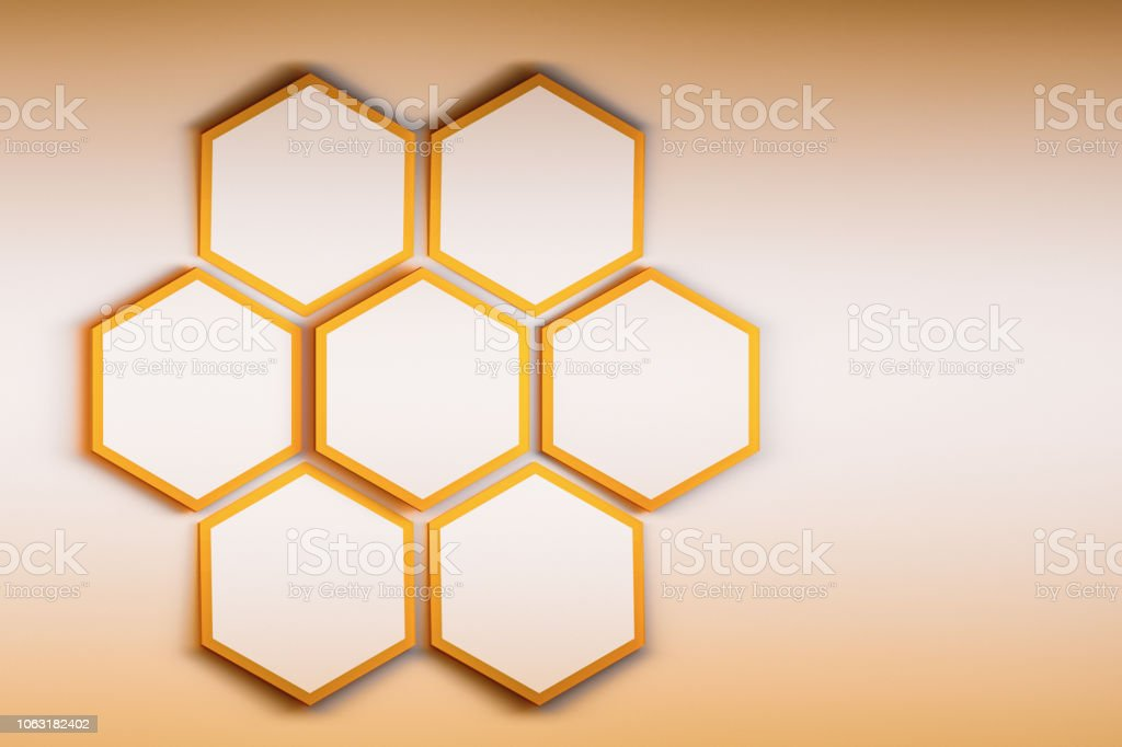 Golden hexagons with an outline stock photo