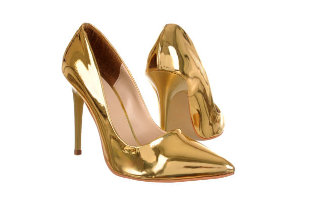 Golden high heel women shoes – zdjęcie