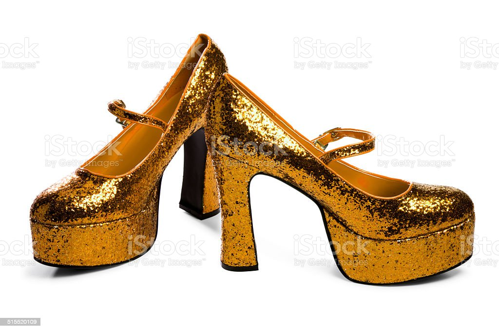 Golden High Heels Isolated on White stock photo